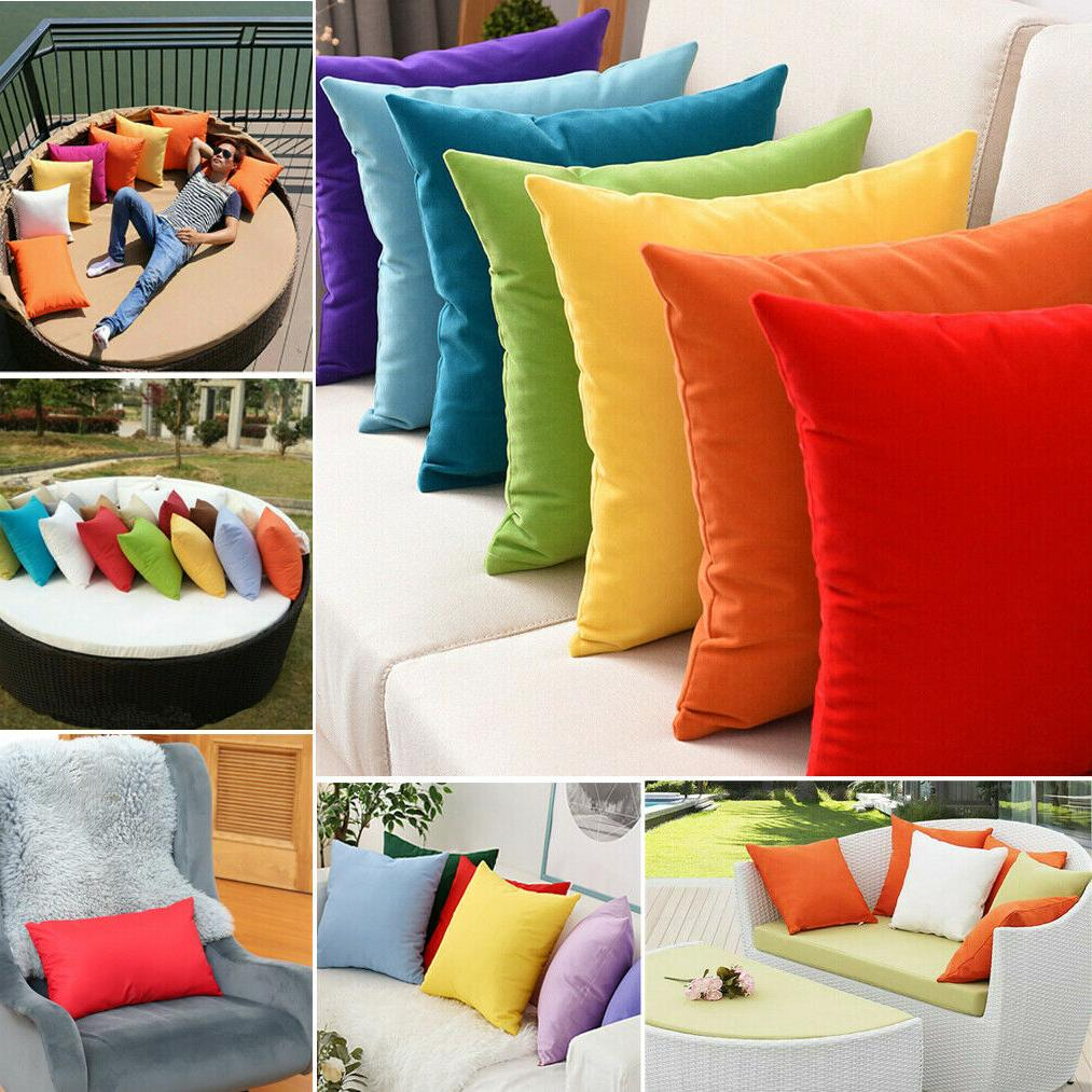 2 waterproof solid color cushion cover indoor