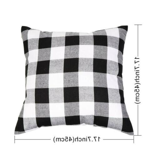 2X Pillow Cover Red Black Sofa