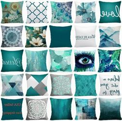 Throw PILLOW COVER Teal Blue Decorative White Soft Abstract