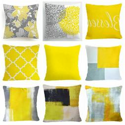 Yellow PILLOW COVER Home Decor Double Sided Gray Decorative